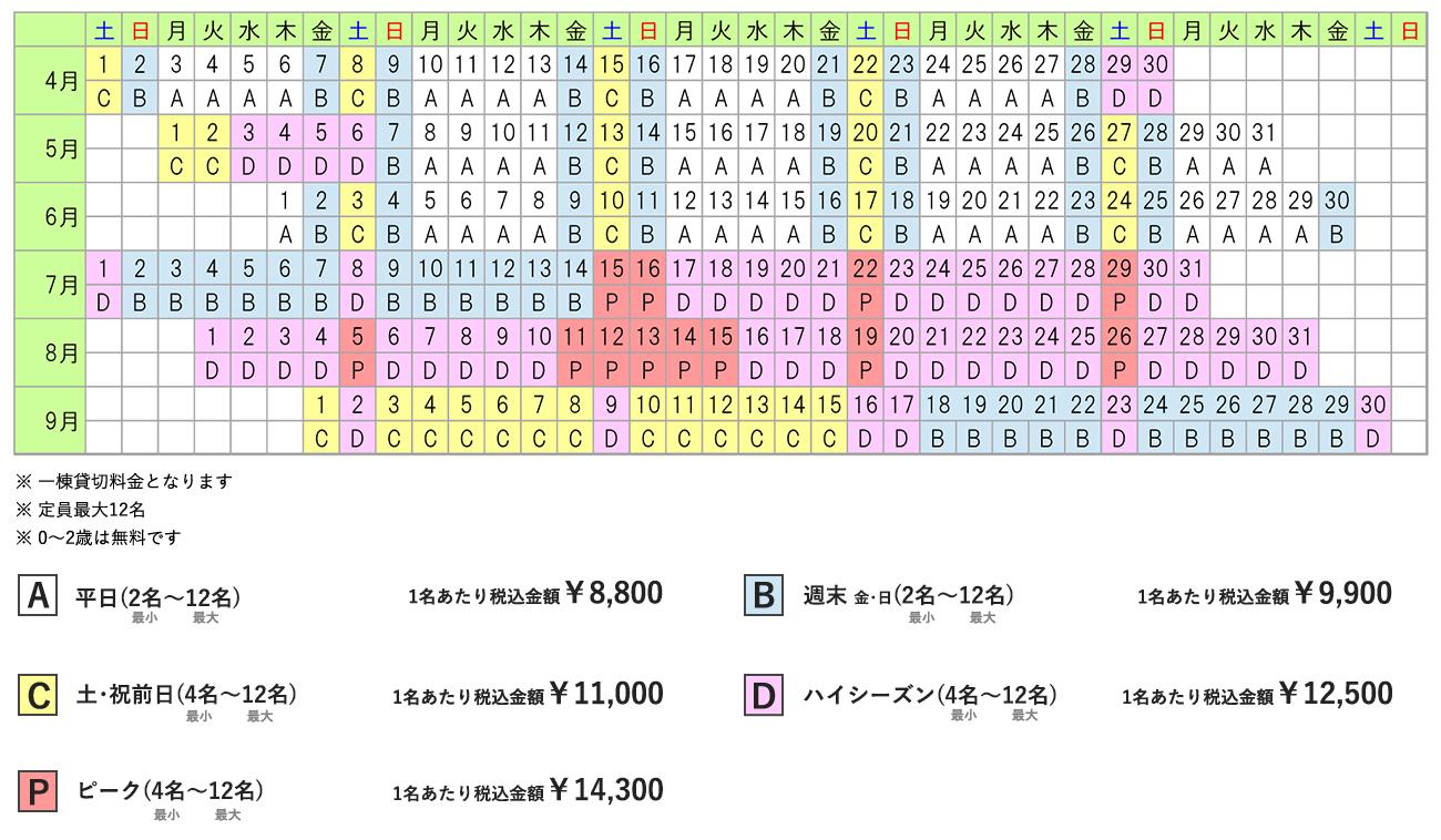 モアブルー料金カレンダー