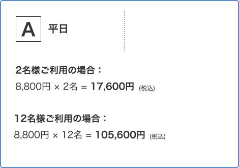 平日2名様ご利用の場合 12,960円 12名様ご利用の場合 77,760円